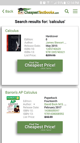 Cheap Textbooks App Search Screen Shot